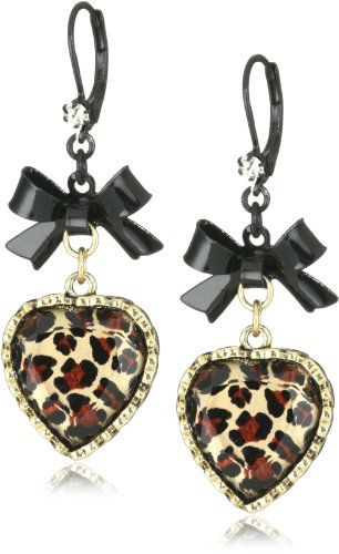 Betsey Johnson Crystal Leopard Heart and Black Bow Drop Earrings