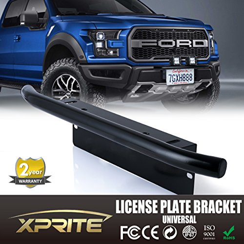 Xprite Bull Bar Style Front Bumper License Plate Mount Bracket Holder For Off-Road Lights, LED Work Lamps, LED Lighting Bars, etc (Black, Universal Fit) (Light Bar For Bull Bar compare prices)