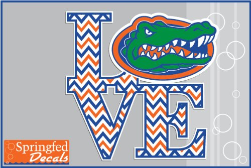 "Florida Gators Love The Gators W/ Chevron Stripes #2 6"" Vinyl Decal Uf Car Truck Window Sticker"