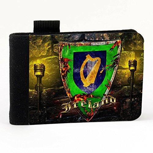 Stemma Irlanda, Nero Polyester Piccolo Cartella Congressi block notes Tasca Taccuino con Fronte di Sublimazione e alta qualità Design Colorato.Dimensioni A7-131x93mm.