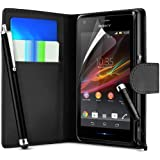 Supergets® Sony Xperia M Premium Wallet Flip Case Covers + Screen Protector + 2 x High Capacitive Touch Screen Stylus