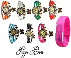 Pappi Boss COMBO OFFER Designer Vintage Leather Set of 7 Multicolor Bracelet Butterfly Watch for Girls, Women - FREE DIGITAL PINK LED BAND WATCH