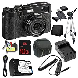 Fujifilm X100T 16.3MP CMOS Digital Camera (Black) + Replacement Lithium Ion Battery + External Rapid Charger + 16GB SDHC Class 10 Memory Card + Carrying Case + Full Size Tripod + Mini HDMI Cable + SDHC Card USB Reader + Memory Card Wallet + Deluxe Starter