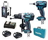 Makita 18V LXT Li Ion DK18000 Kit BHP458, BTD140 & BMR100W White Job Site Radio