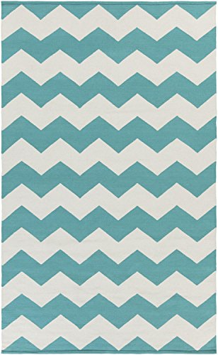 Teal Rug Modern Striped Design 2-Foot x 3-Foot Cotton Flat-Woven Chevron Dhurry