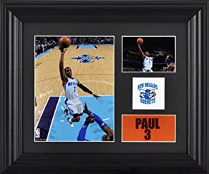 Chris Paul Framed 2- Photograph Collage | Details: New Orleans Hornets, Team Logo by Mounted Memories