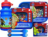 Paw Patrol Reusable 5 Piece Lunch Set Includes Pull-top Water Bottle , Utensils, Sandwich Containers with Lids, 3 Sectioned Lunch Kit , and Mini Snack Containers