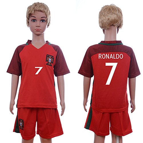 2016 Kids EURO Cup Protugal 7# Cristiano Ronaldo Home Red Soccer Jersey Football Jersey & Short