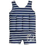 JoJo Maman Bébé - Traje de baño completo con chaqueta, tamaño: 2-3 años, modelo rayado, color: Negro / Azul Marino