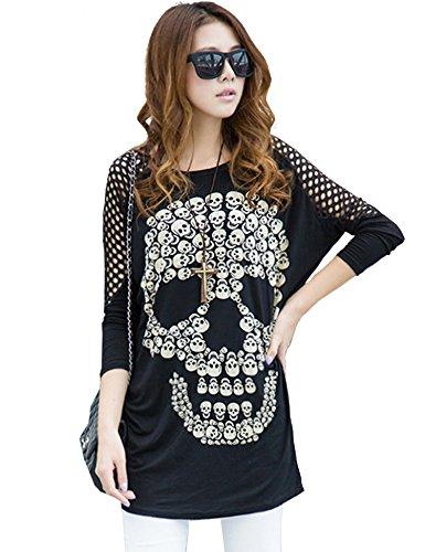 KaKing Women Sheer Back Batwing Sugar Skull T Shirt Loose High Low Tops Black