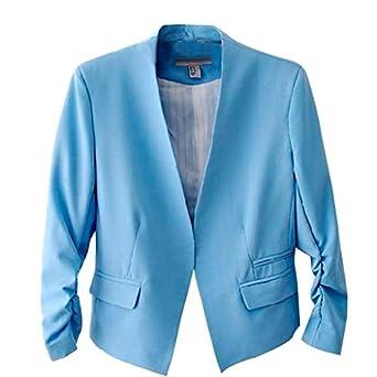 Hee Grand Femme Veste de Costume en Coton Veste de Tailleur Couleur de Boncon Chinois L Bleu