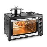 Klarstein-Masterchef-60-Mini-four-spacieux-de-60L-avec-nombreux-accessoires-et-2-plaques-de-cuisson-1600W-2500W-grill-tourne-broche-noir