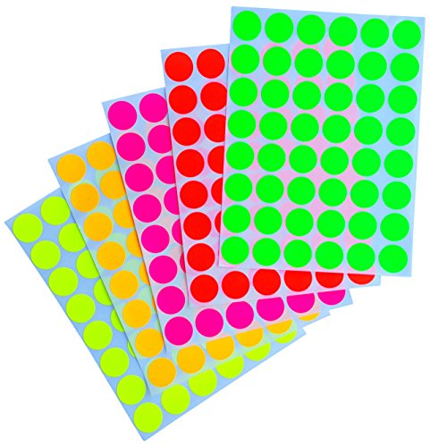 "Neon Color Coding Labels ~ 3/4"" (0.69) inch 17 mm Round Dot Stickers - 5 Different fluorescent Colors Dots Label - (11/16) inch rounds sticker 480 p"
