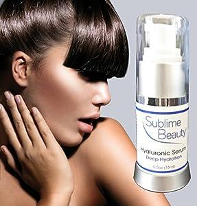 HYALURONIC ACID SERUM from Sublime Beauty®. Best Anti-Aging + Hydrating Moisturizer Serum for Dewy, Vibrant Skin. Includes Aloe + Antioxidant Beta-Carotene. Reduce Wrinkles, Revive Skin, Retain Skin Moisture!