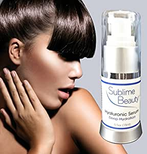 HYALURONIC MOISTURIZING SERUM from Sublime Beauty, 0.5 oz. Also Includes Beta-Carotene & Aloe for Dewy Skin. Plumps Skin.