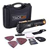 Tacklife 12V Oscillating Tool, 6 Variable Speed Lithium-Ion Cordless Oscillating Multi-Tool with LED, 1 Hour Fast Charge, Great for Sanding Polishing Cutting Scraping Cleaning, 23pcs Accessories (Color: Black&Orange, Tamaño: pmt01)