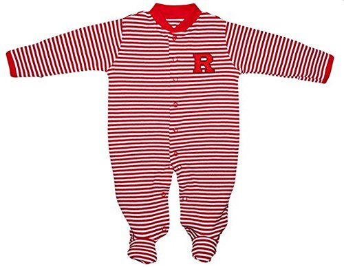 Rutgers Scarlet Knights NCAA College Newborn Baby Long Sleeve Footed Romper Striped