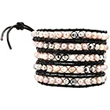"40"" Dyed Pink Freshwater Cultured Pearl Silver Tone Alloy Beaded Leather Wrap Bracelet"