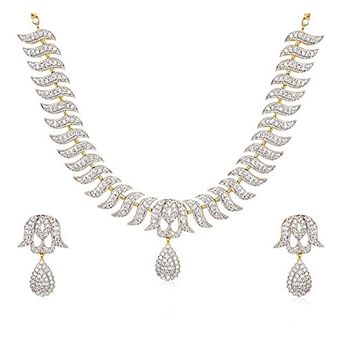 Zeneme American Diamond Gold Plated Necklace Set / Jewellery Set with Earrings For Women