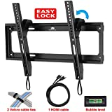 Mounting Dream® MD2268-MK Tilt TV Wall Mount Bracket for most of 26-55 Inches TVs with VESA from 75X75 to 400x400mm, Loading Capacity 100 lbs, 0-10 Degree Forward Tilt, Including 6 ft HDMI Cable and Magnetic Bubble Level (for Samsung, Sony, Vizio, LG, Sharp, TCL 26, 28, 32, 40, 42, 47, 48, 49, 50, 51, 55 inch TV)