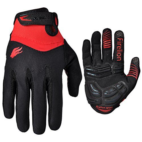 Firelion Long Finger Outdoor MTB Downhill Off Road Bicycle Gloves (Black, Medium) (Boys Cycling Clothing compare prices)