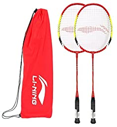 Li-Ning Q6 Basic Q series Badminton Racquet White/Green with Grip (Pack of 2)