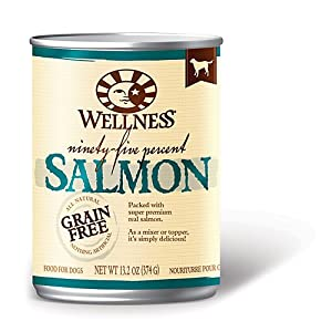 Wellpet Wellness Canned Dog Food for Adult 95% Salmon 13.2 oz cans / case of 12 Canned Food
