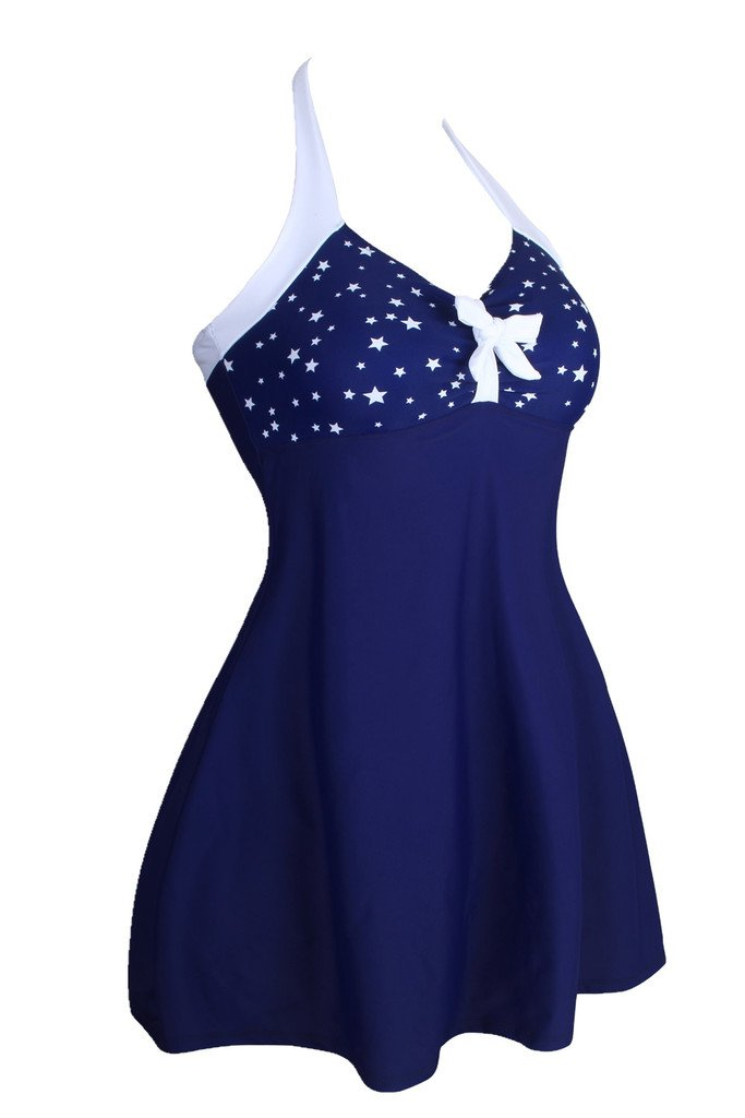 Dokotoo Womens Vintage Sailor Pin Up One Piece Skirtini Cover Up Swimdress (FBA) 1