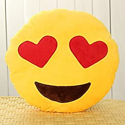 OliaDesign Heart-Eye Emoji Round Smiley Emoticon Cushion Pillow Stuffed Plush Soft Toy, Yellow