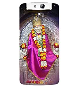 ColourCraft Lord Sai Baba Design Back Case Cover for OPPO N1