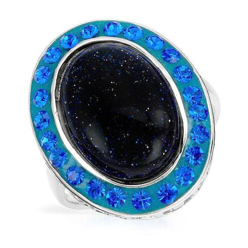 Ring With Crystals and Created Lapis lazuli Well Made in Green Enamel and 925 Sterling silver. Total item weight 5.6g (Size 8.5)