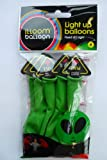 Alien Face LED LIGHT UP Green 9 Inch Illoom Balloons - Pack of 5
