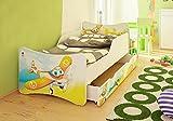 Best For Kids Niños cama con cajón y con 10cm Colchón TÜV certificado Super Selección 4Tamaños Diversos diseños Flugzeug Talla:70x160