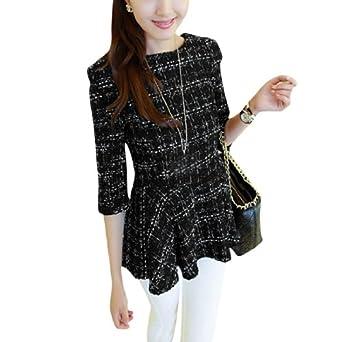 Allegra K Ladies Half Sleeve Back Zipper Pullover Elegant Autumn Check Coat Black XS