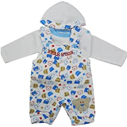 Bear Hugs Shortalls with White Top and Hat 3 -6 Month