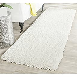 Safavieh Popcorn Shag Collection SG267A Handmade Ivory Polyester Runner, 2 feet 3 inches by 7 feet (2\'3\
