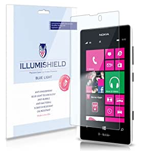iLLumiShield - Nokia Lumia 521 (HD) Blue Light UV Filter Screen Protector Premium High Definition Clear Film / Reduces Eye Fatigue and Eye Strain - Anti- Fingerprint / Anti-Bubble / Anti-Bacterial Shield - Comes With Free LifeTime Replacement Warranty - [2-Pack] Retail Packaging