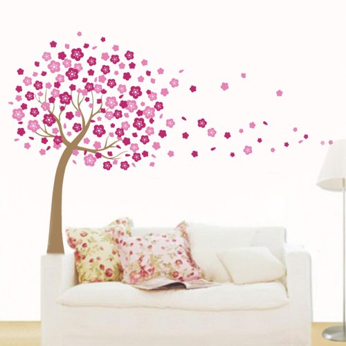 Pink Flying Cherry Blossom Flower Tree - Self-adhesion & Removable DIY Vinyl Wall Decals Stickers Appliques Home Decor Art Mural Wallpaper Wall Art