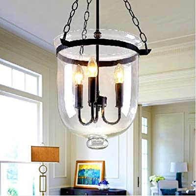 Country Style Glass Chandeliers Creative Living Room Lights Restaurant Lights Bucket Shape Pendant Lamp 3 Lights