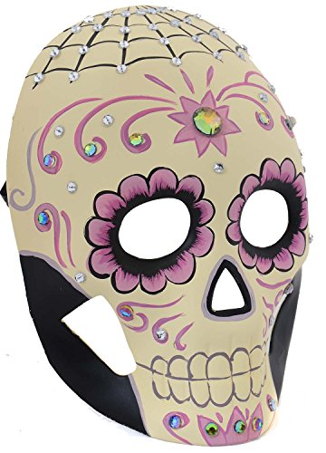 Handpainted Day of the Dead Sugar Skull Spiderweb Mask M3204C