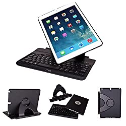 Aerb Wireless Bluetooth Folio Laptop Style Keybook Removable Detachable Keyboard Case With 360 Degree Rotatable Swivel Stand Multiple Viewing Angles For Apple iPad Air & iPad 5 (For iPad Air / iPad 5, Black)