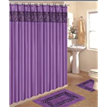 Purple Zebra Bathroom 4 Piece Bath Rug Set with Fabric Shower Curtain
