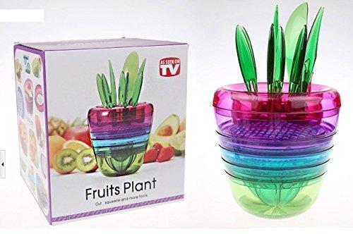 10 ustensiles de cuisine pour concocter une salade de fruits. Presse agrumes, coupe pomme, éplucheur, râpe, pilon, le tout emboité sous forme d'une plante design.
