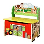 Fantasy Fields - Happy Farm Animals Thematic Kids Storage Bench| Imagination Inspiring Hand Crafted & Hand Painted Details | Non-Toxic, Lead Free Water-based Paint