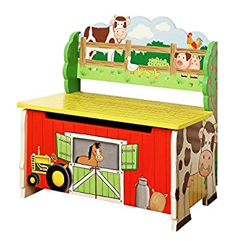 Fantasy Fields - Happy Farm Animals Thematic Kids Storage Bench| Imagination Inspiring Hand Crafted