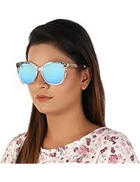 Aislin Premium Flash Mirror Cat Eye Sunglasses For Women (Turquoise Lens Clear-Golden Frame)(Size : 54 Mm)(AS-...