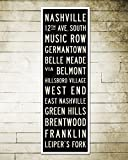 Nashville Subway Art. Nashville Poster. Stretched Canvas Home or Office Decor. 12 x 36.