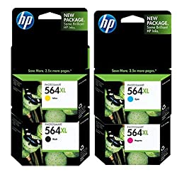 HP 564XL Color Four Pack - Includes Double Capacity -Black (CN684WN)/ Cyan(CB323WN)/ Magneta(CB324WN)/ Yellow(CB325WN)