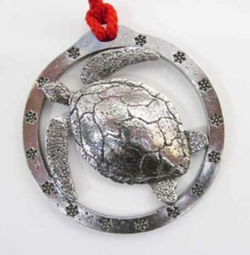 Pewter ~ Sea Turtle ~ Large ~ Holiday Ornament ~