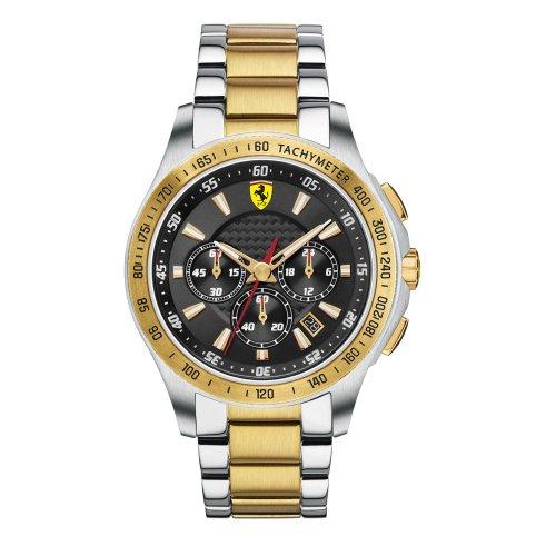 Ferrari 0830050 830050 - Reloj para hombres, correa de acero inoxidable chapado multicolor